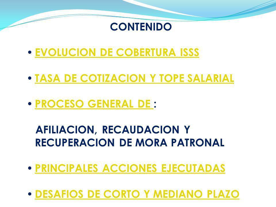 CONTENIDO EVOLUCION DE COBERTURA ISSS. TASA DE COTIZACION Y TOPE SALARIAL. PROCESO GENERAL DE :