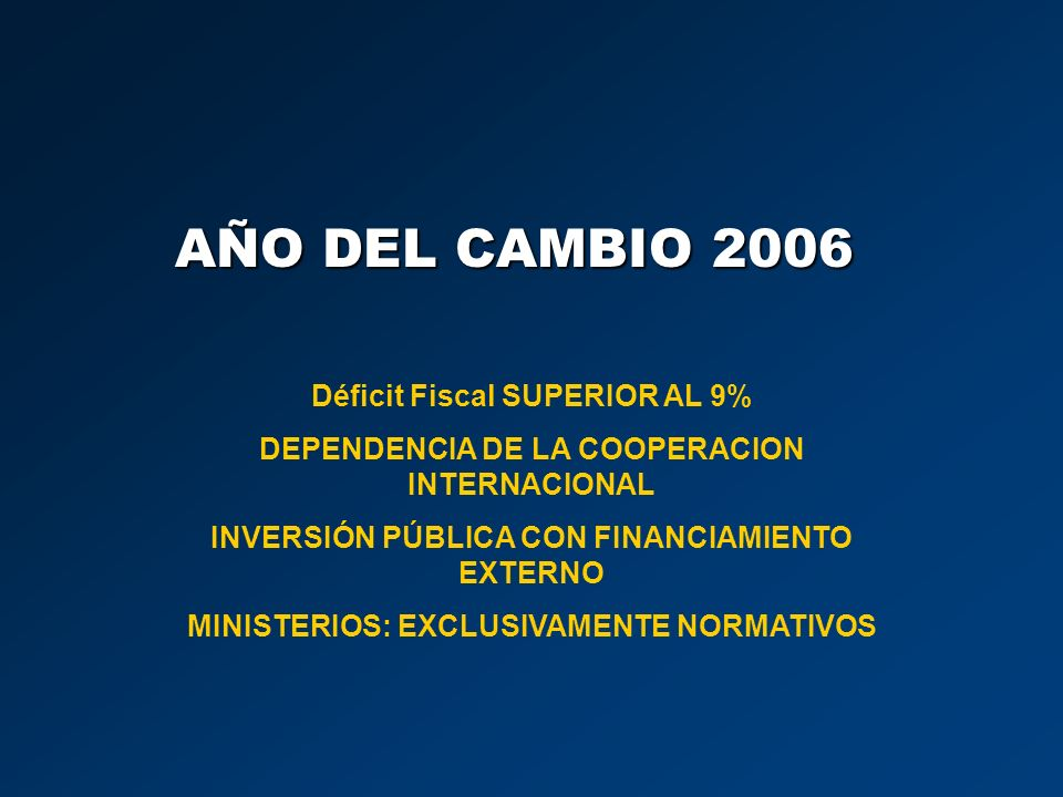 AÑO DEL CAMBIO 2006 Déficit Fiscal SUPERIOR AL 9%