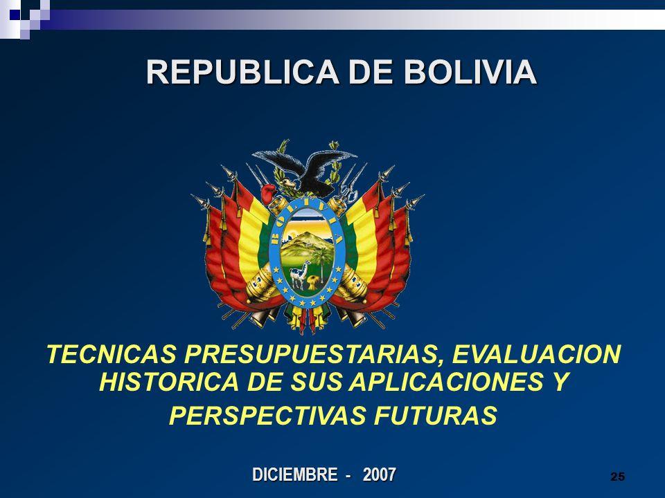 TECNICAS PRESUPUESTARIAS, EVALUACION HISTORICA DE SUS APLICACIONES Y