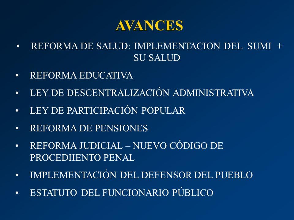 REFORMA DE SALUD: IMPLEMENTACION DEL SUMI + SU SALUD