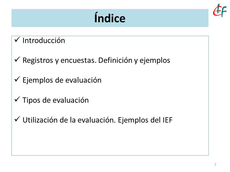 Índice Introducción Registros y encuestas. Definición y ejemplos