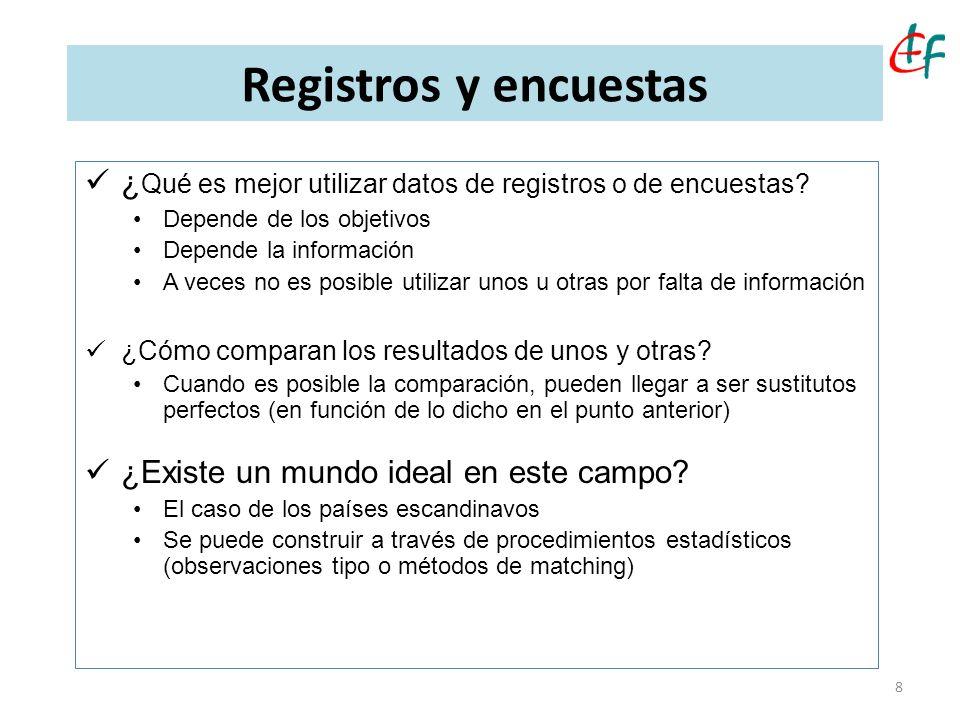 Registros y encuestas ¿Qué es mejor utilizar datos de registros o de encuestas Depende de los objetivos.