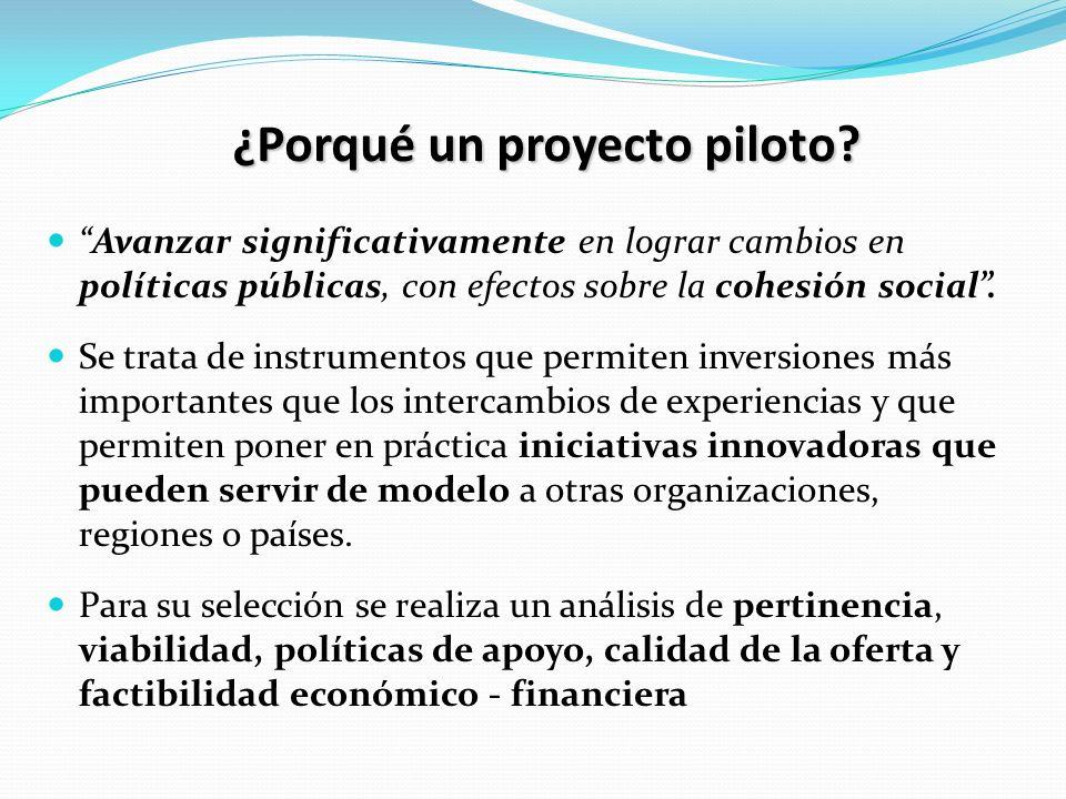 ¿Porqué un proyecto piloto