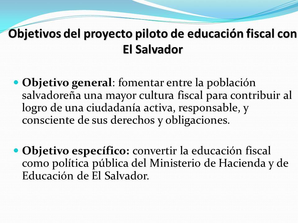 Objetivos del proyecto piloto de educación fiscal con El Salvador