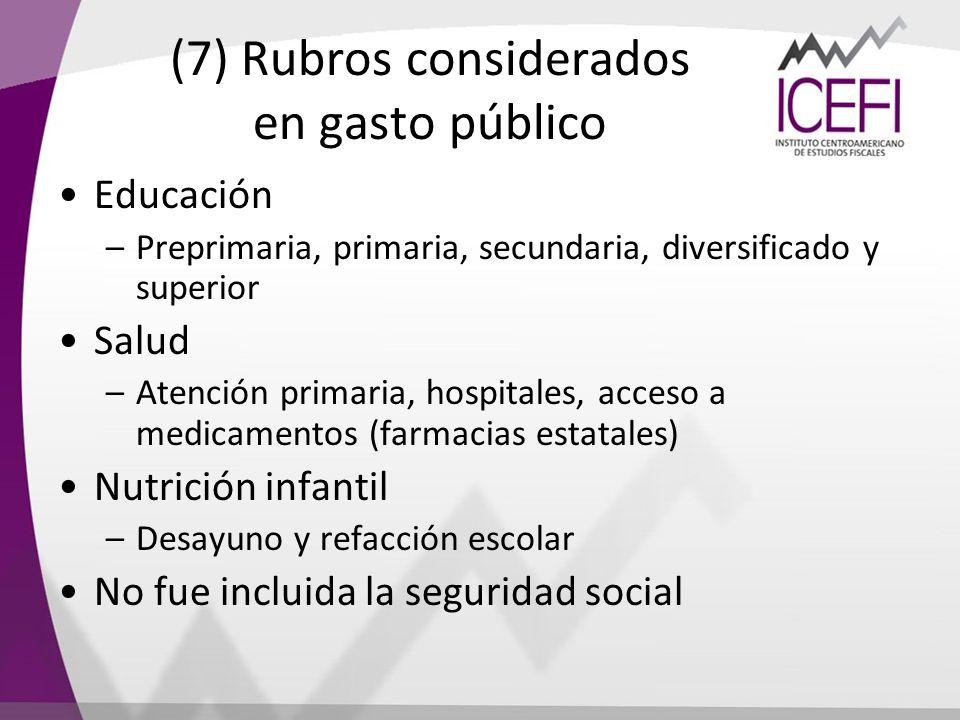 (7) Rubros considerados en gasto público