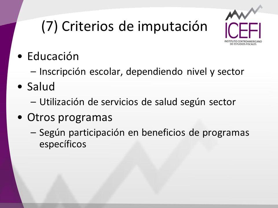 (7) Criterios de imputación