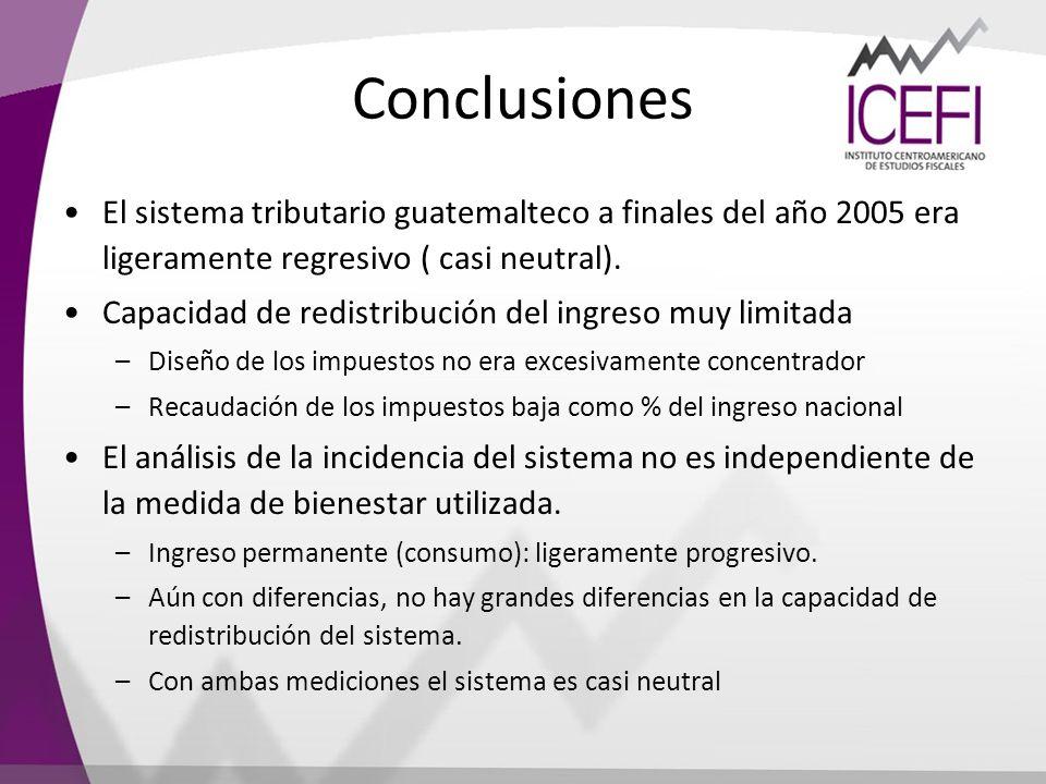 Conclusiones El sistema tributario guatemalteco a finales del año 2005 era ligeramente regresivo ( casi neutral).