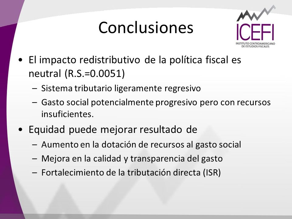 Conclusiones El impacto redistributivo de la política fiscal es neutral (R.S.=0.0051) Sistema tributario ligeramente regresivo.
