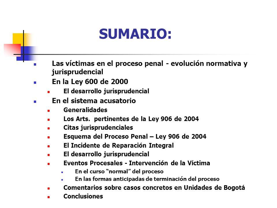 SUMARIO: Las víctimas en el proceso penal - evolución normativa y jurisprudencial. En la Ley 600 de 2000.