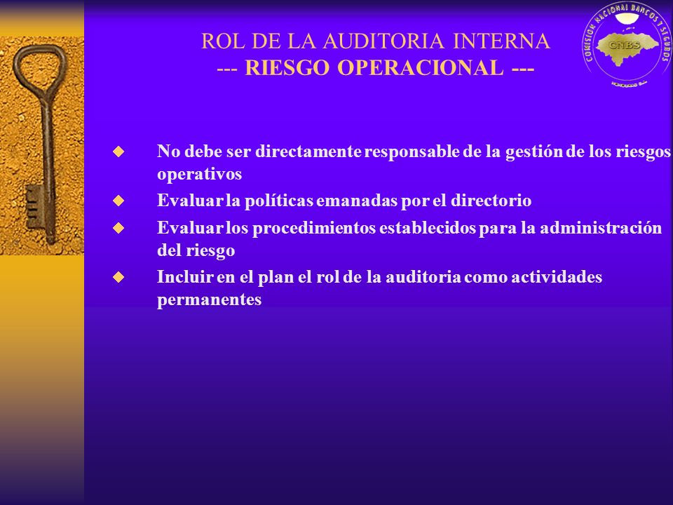 ROL DE LA AUDITORIA INTERNA --- RIESGO OPERACIONAL ---