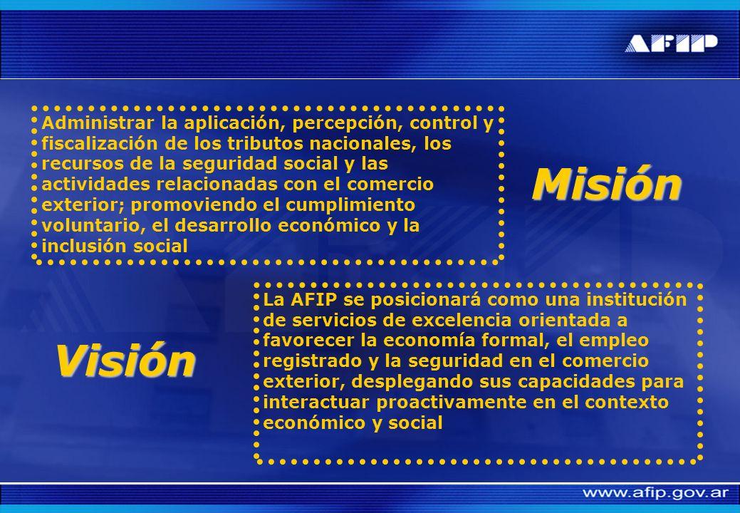 Administrar la aplicación, percepción, control y fiscalización de los tributos nacionales, los recursos de la seguridad social y las actividades relacionadas con el comercio exterior; promoviendo el cumplimiento voluntario, el desarrollo económico y la inclusión social