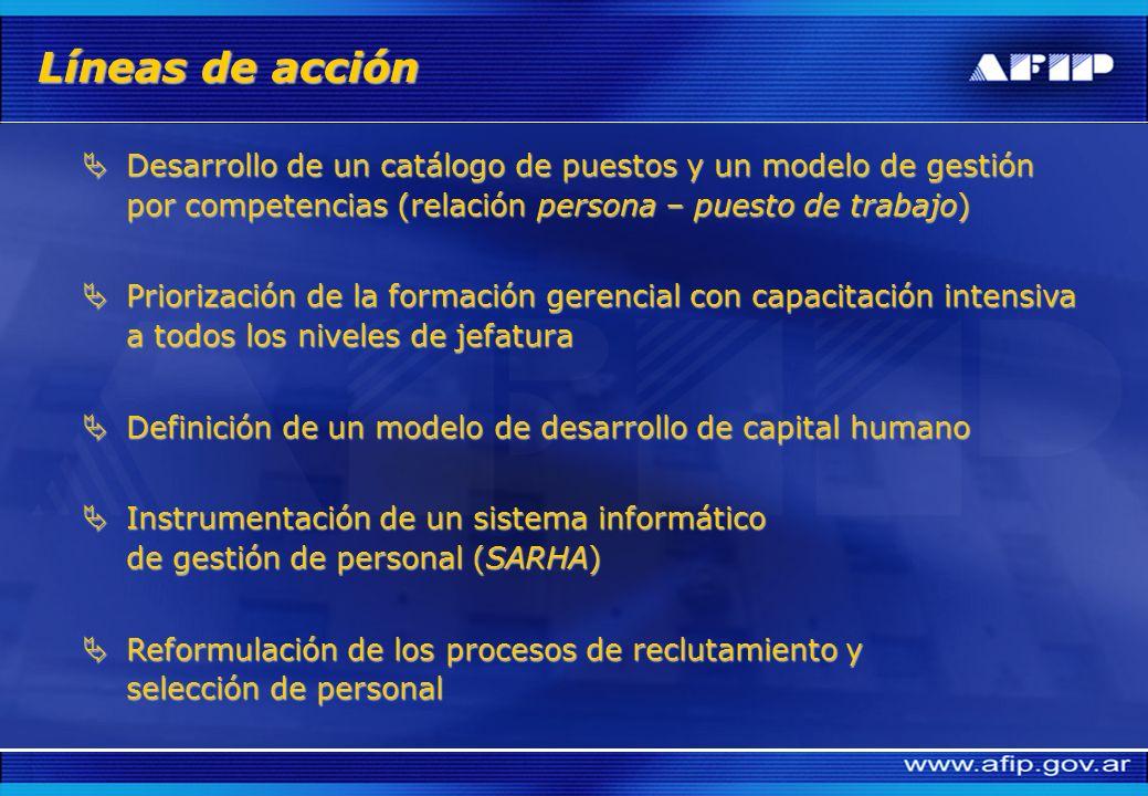 Líneas de acción Desarrollo de un catálogo de puestos y un modelo de gestión por competencias (relación persona – puesto de trabajo)