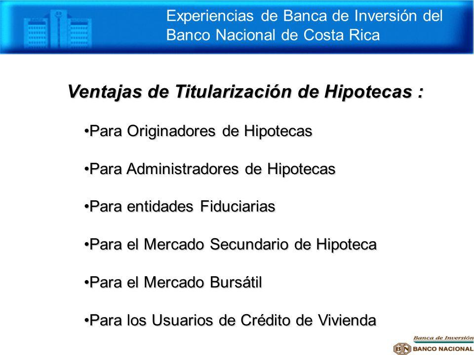 Ventajas de Titularización de Hipotecas :