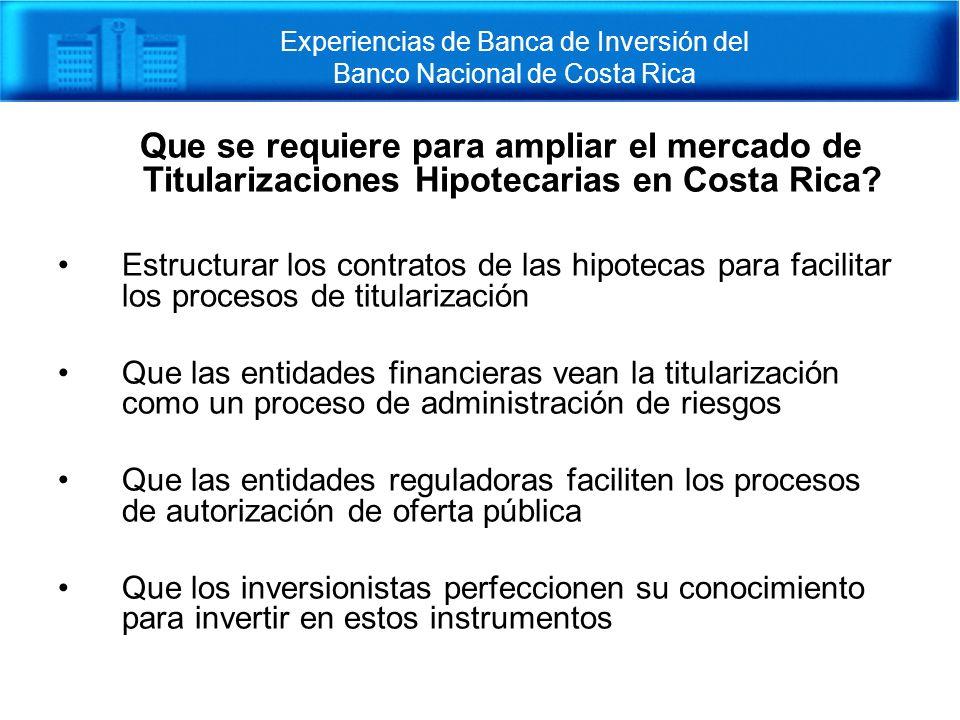 Experiencias de Banca de Inversión del