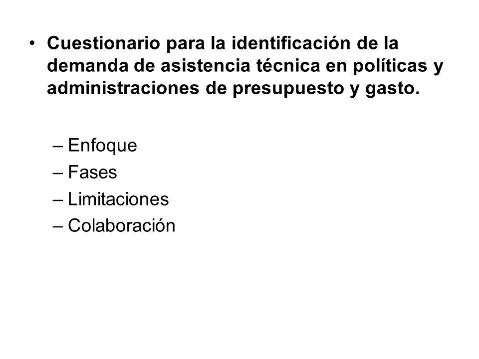 Cuestionario para la identificación de la demanda de asistencia técnica en políticas y administraciones de presupuesto y gasto.