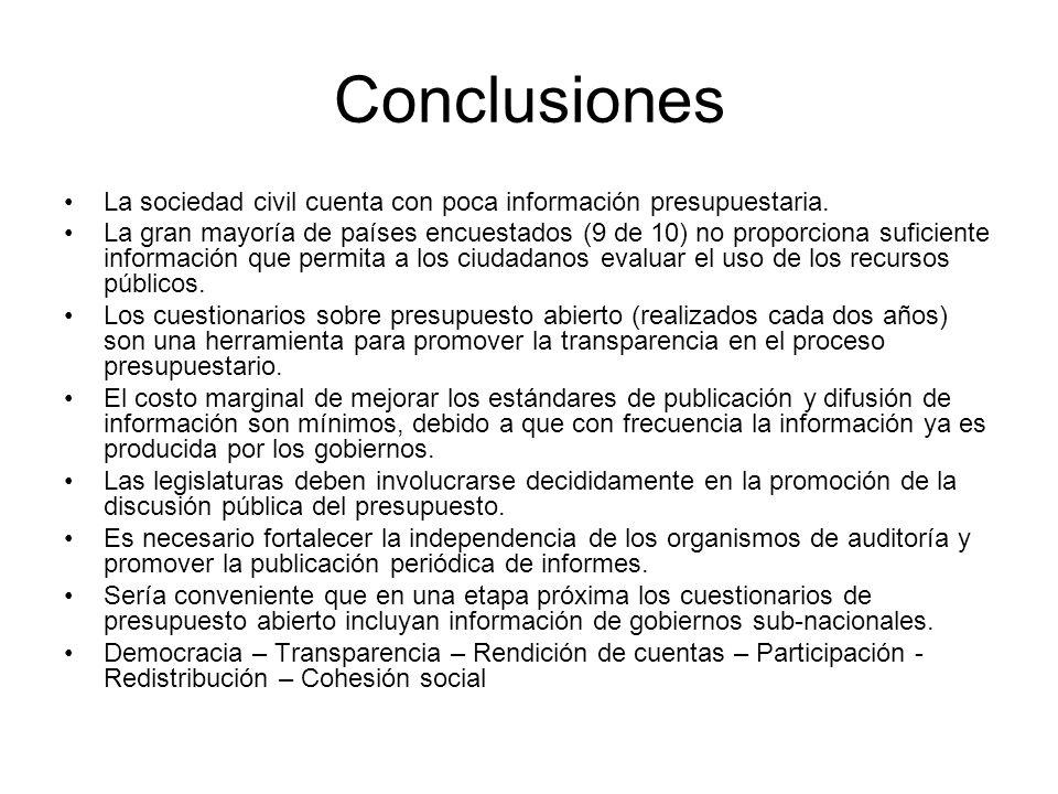 Conclusiones La sociedad civil cuenta con poca información presupuestaria.