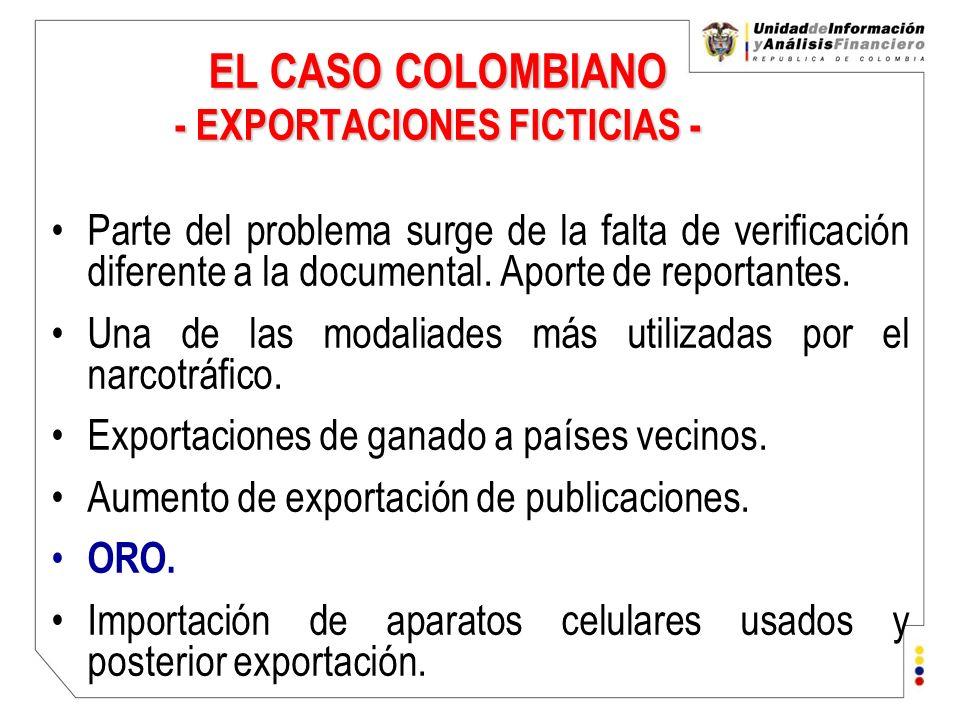 EL CASO COLOMBIANO - EXPORTACIONES FICTICIAS -