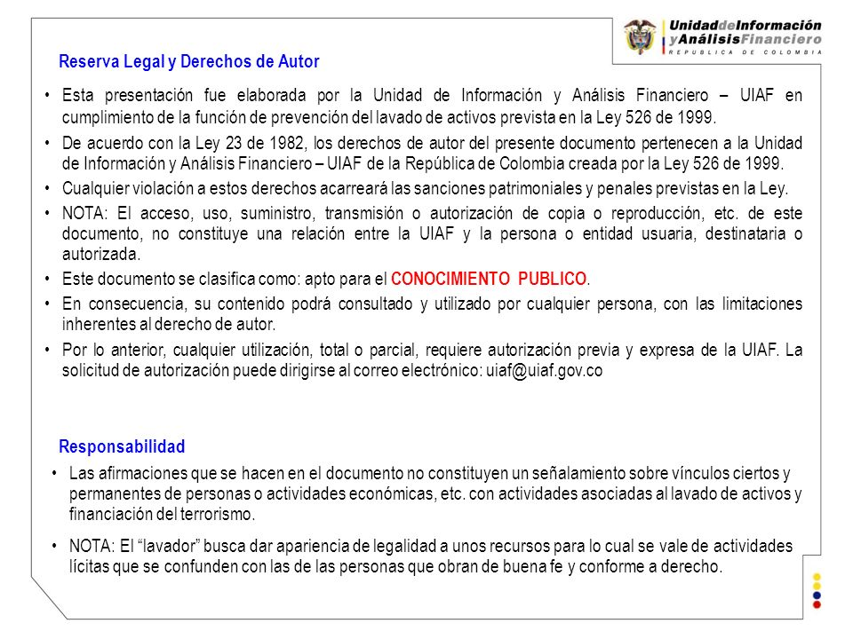Reserva Legal y Derechos de Autor