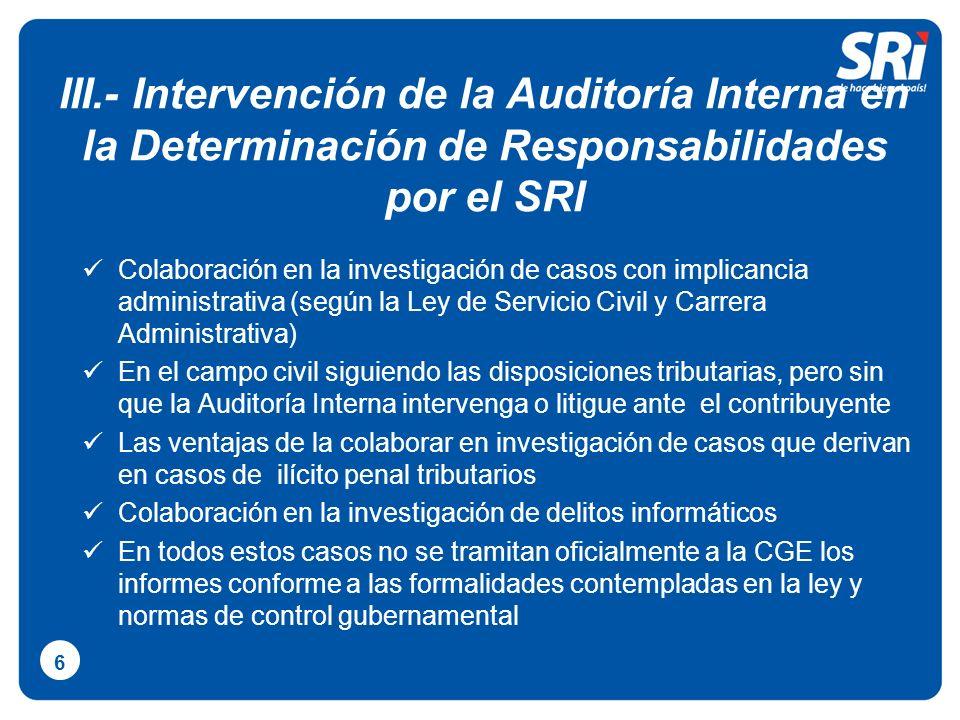 III.- Intervención de la Auditoría Interna en la Determinación de Responsabilidades por el SRI