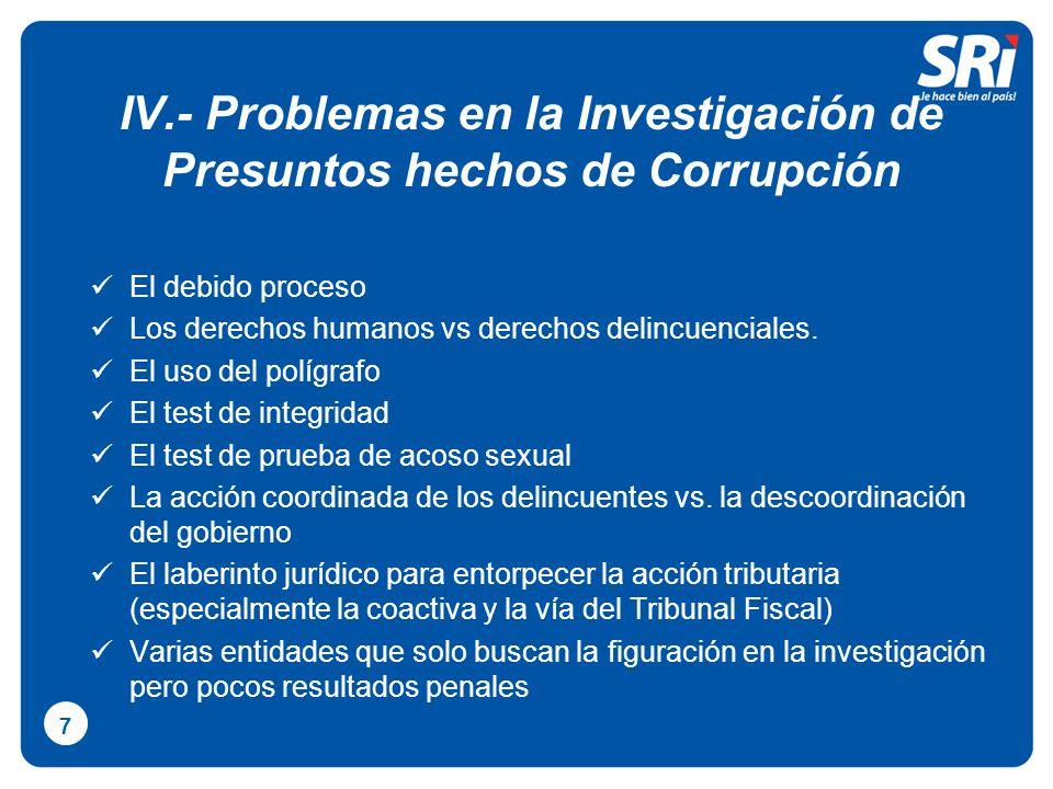 IV.- Problemas en la Investigación de Presuntos hechos de Corrupción