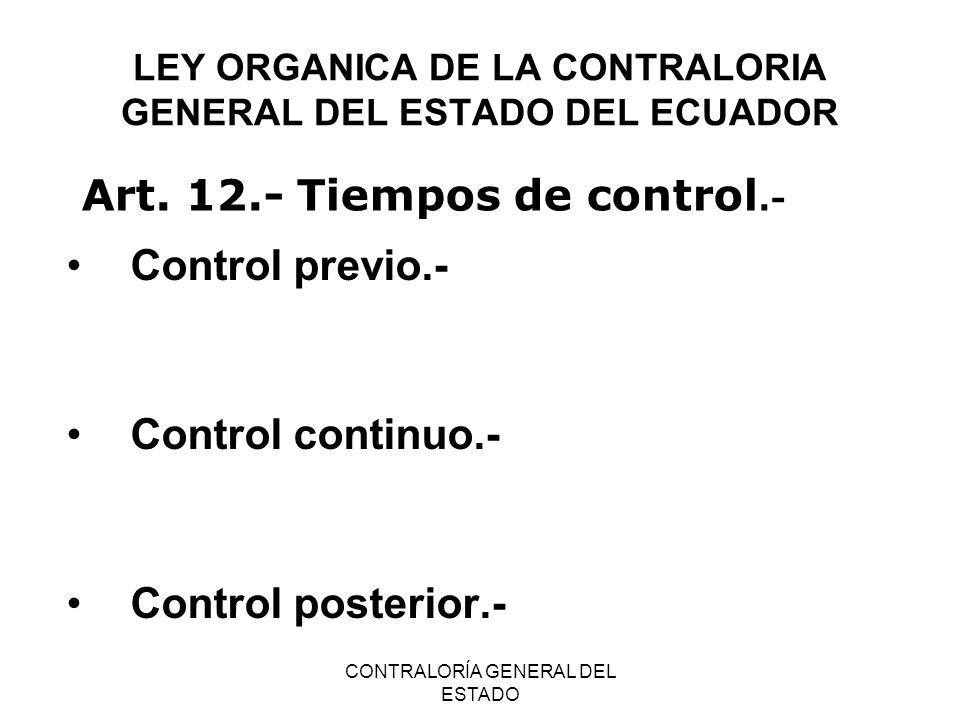 LEY ORGANICA DE LA CONTRALORIA GENERAL DEL ESTADO DEL ECUADOR
