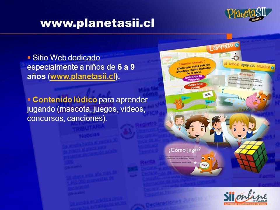 www.planetasii.cl Sitio Web dedicado especialmente a niños de 6 a 9 años (www.planetasii.cl).