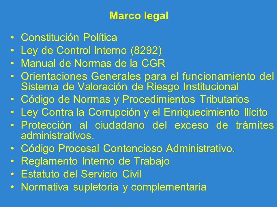 Marco legal Constitución Política. Ley de Control Interno (8292) Manual de Normas de la CGR.