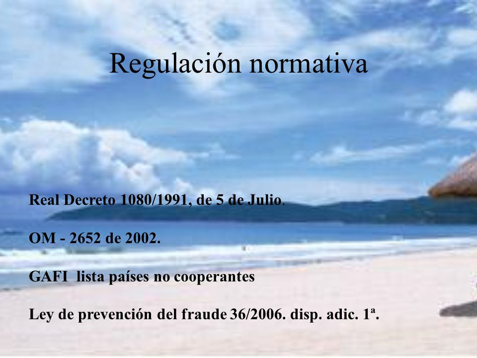 Regulación normativa Real Decreto 1080/1991, de 5 de Julio.