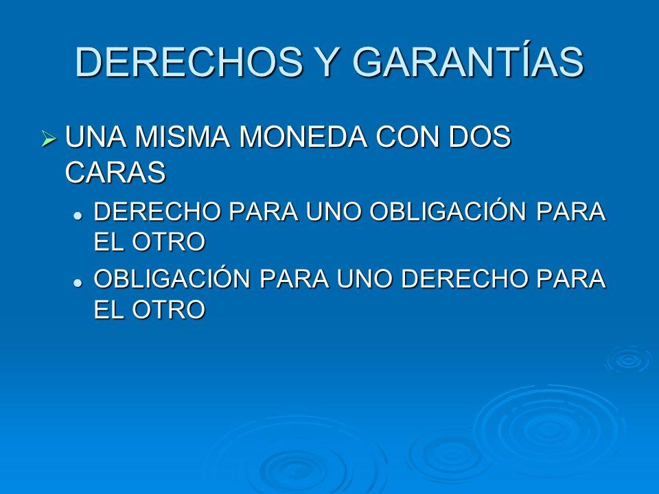 DERECHOS Y GARANTÍAS UNA MISMA MONEDA CON DOS CARAS