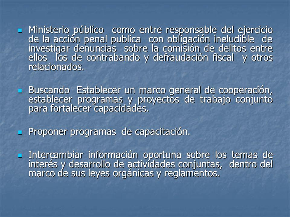 Ministerio público como entre responsable del ejercicio de la acción penal publica con obligación ineludible de investigar denuncias sobre la comisión de delitos entre ellos los de contrabando y defraudación fiscal y otros relacionados.
