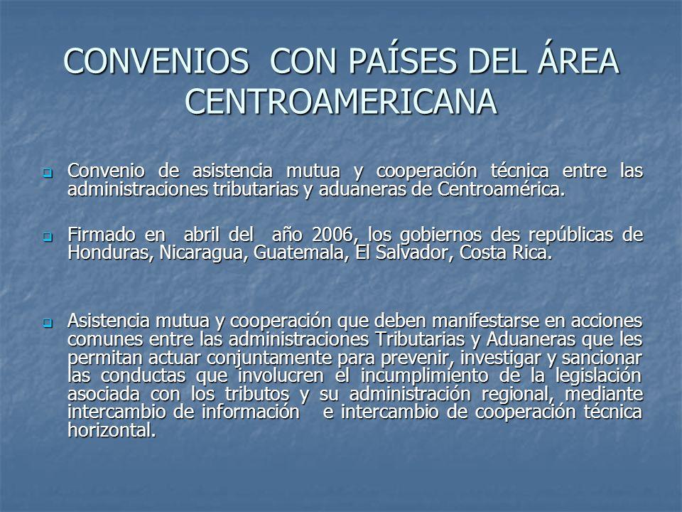 CONVENIOS CON PAÍSES DEL ÁREA CENTROAMERICANA