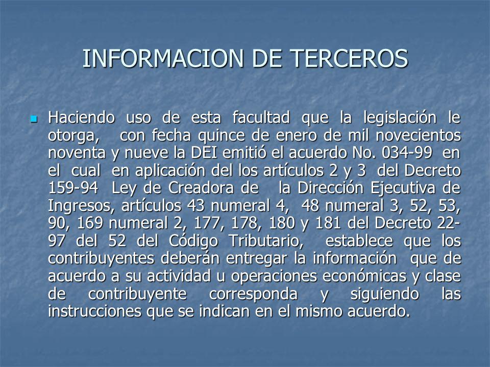 INFORMACION DE TERCEROS