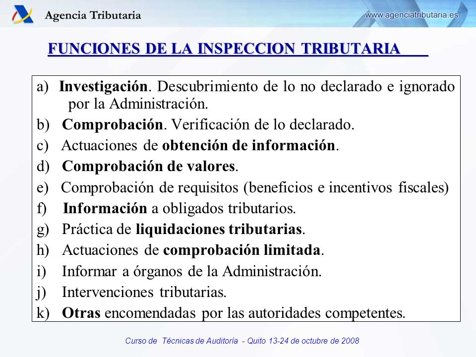 FUNCIONES DE LA INSPECCION TRIBUTARIA