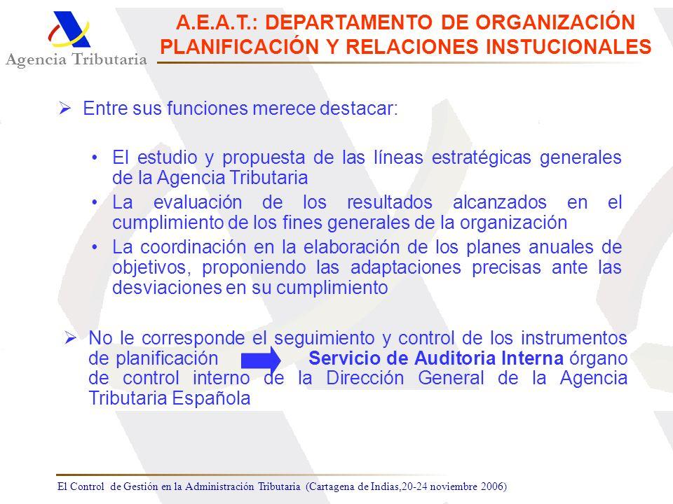 A.E.A.T.: DEPARTAMENTO DE ORGANIZACIÓN PLANIFICACIÓN Y RELACIONES INSTUCIONALES