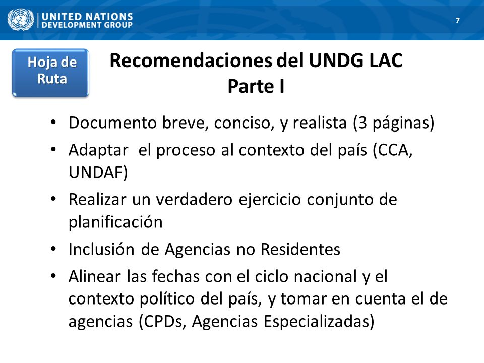 Recomendaciones del UNDG LAC Parte I