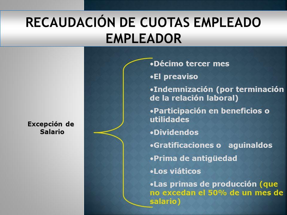 RECAUDACIÓN DE CUOTAS EMPLEADO EMPLEADOR