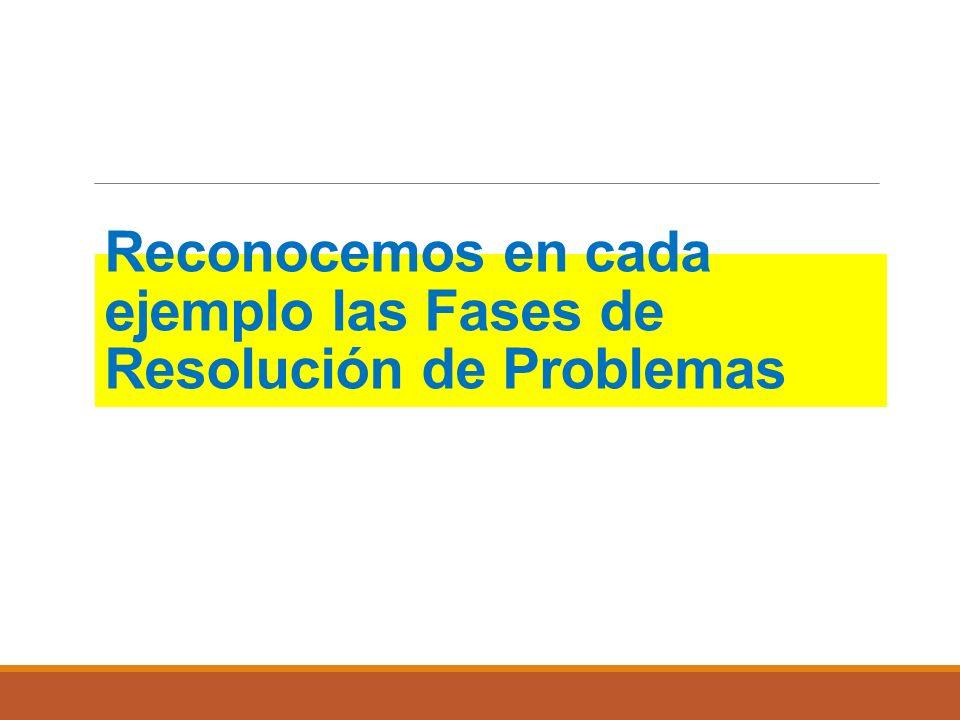 Reconocemos en cada ejemplo las Fases de Resolución de Problemas