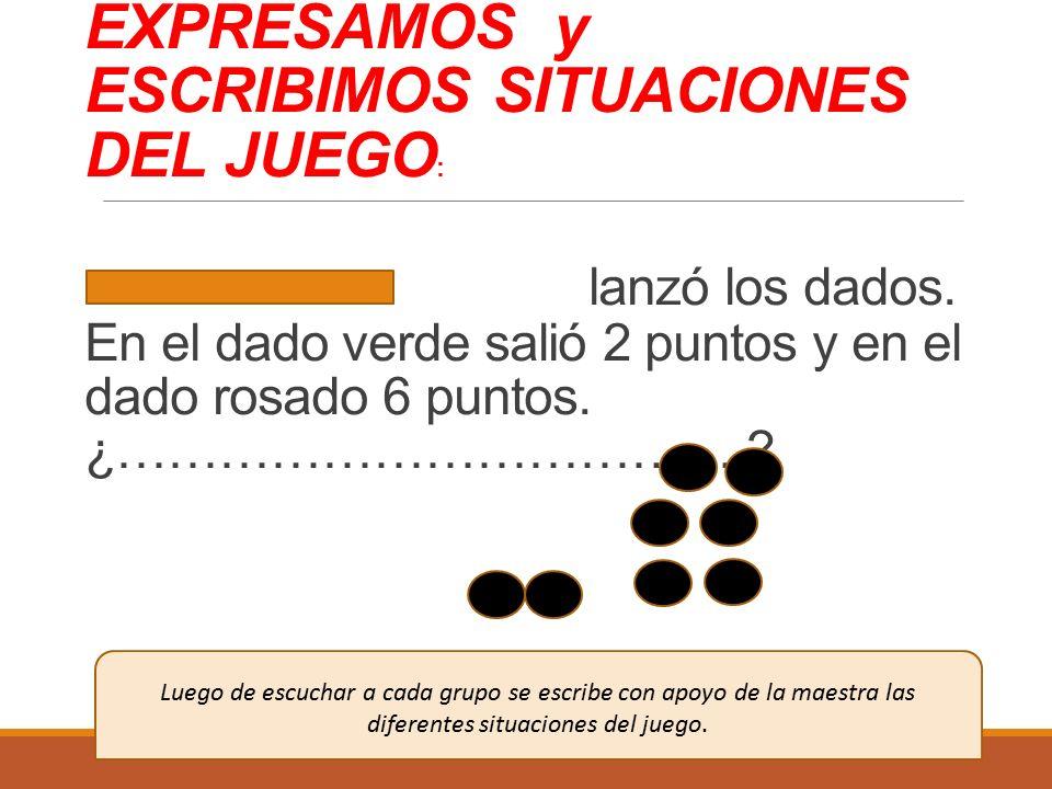 EXPRESAMOS y ESCRIBIMOS SITUACIONES DEL JUEGO: lanzó los dados
