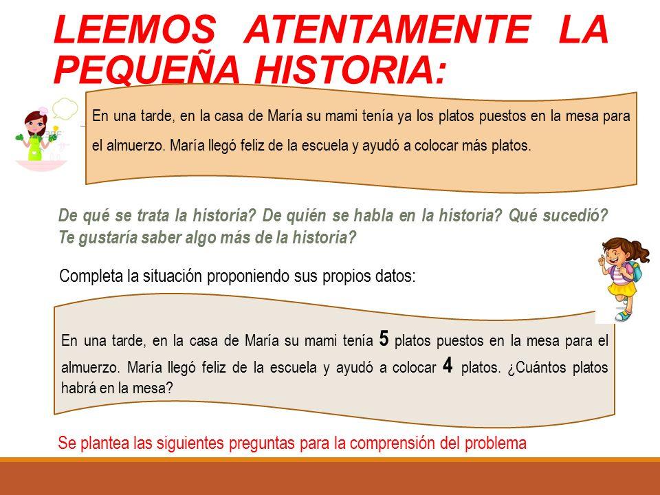 LEEMOS ATENTAMENTE LA PEQUEÑA HISTORIA: