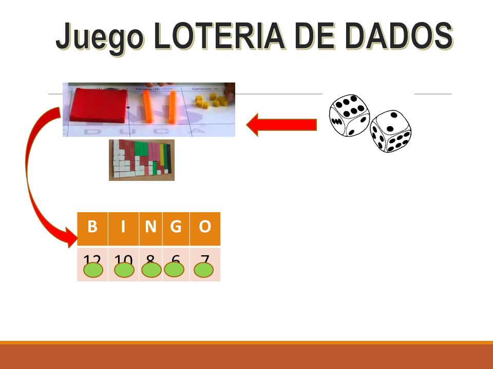 Juego LOTERIA DE DADOS B I N G O 12 10 8 6 7