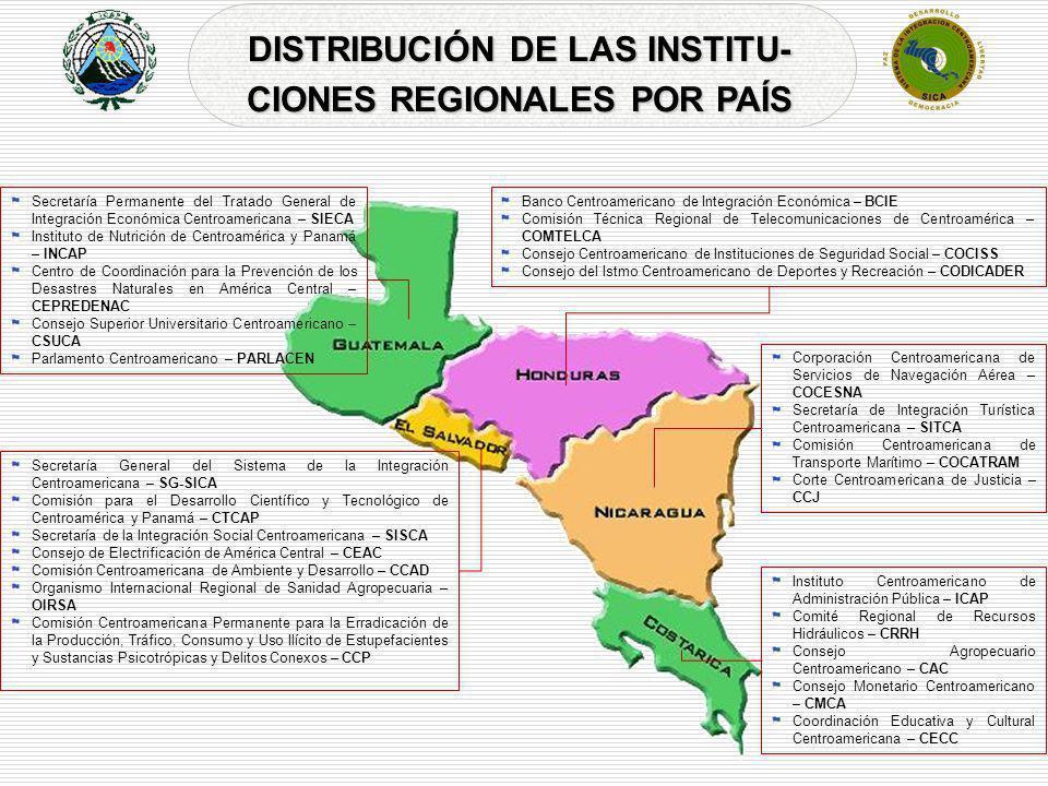 DISTRIBUCIÓN DE LAS INSTITU- CIONES REGIONALES POR PAÍS