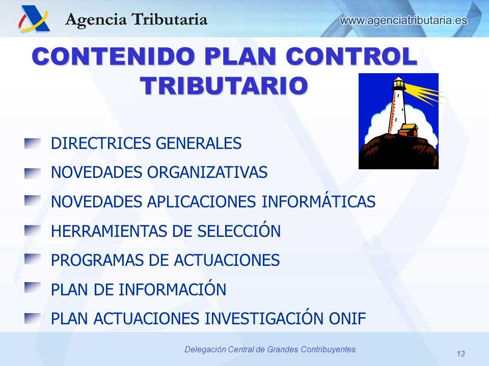 CONTENIDO PLAN CONTROL TRIBUTARIO