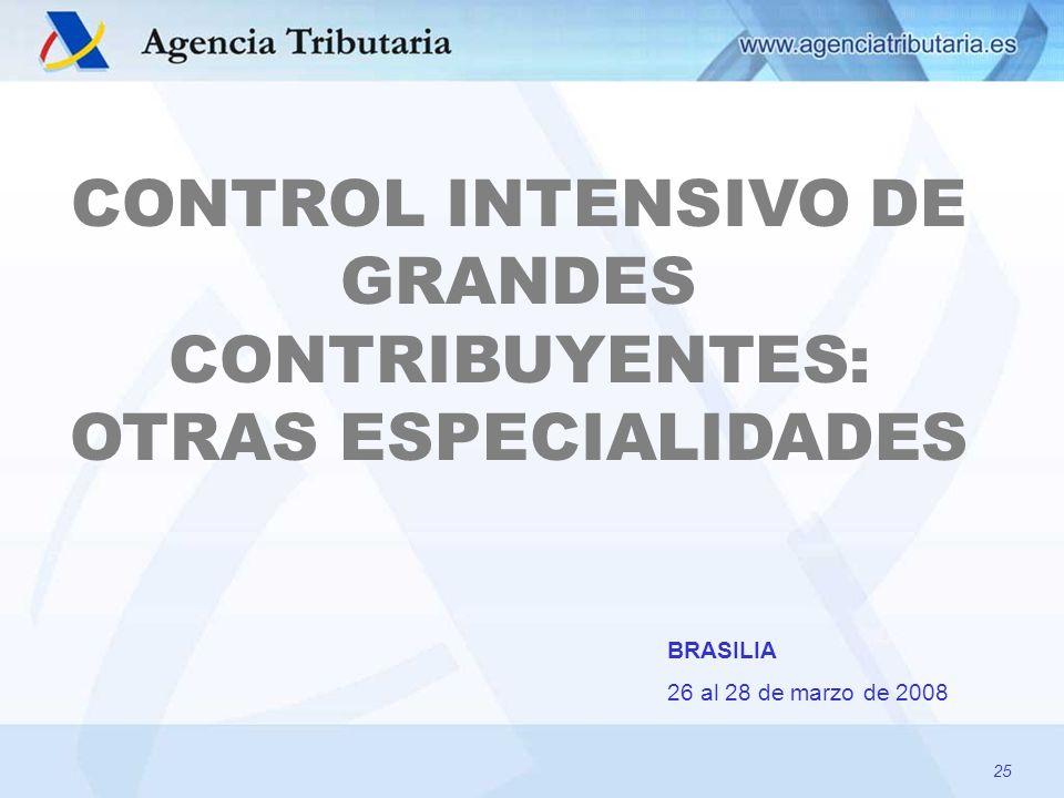 CONTROL INTENSIVO DE GRANDES CONTRIBUYENTES: OTRAS ESPECIALIDADES