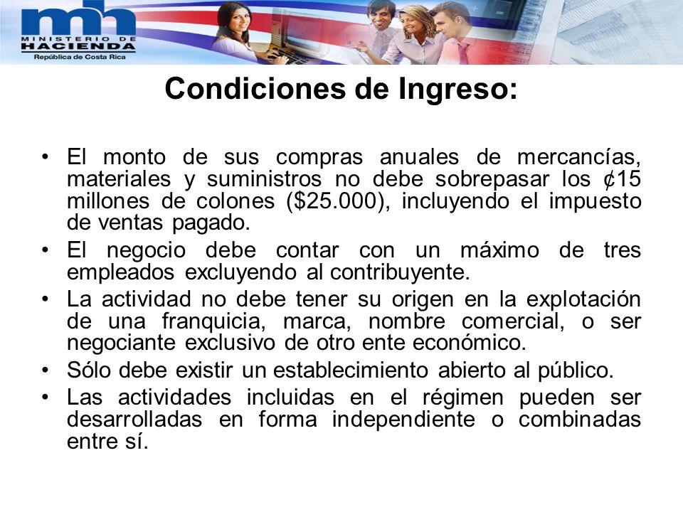 Condiciones de Ingreso: