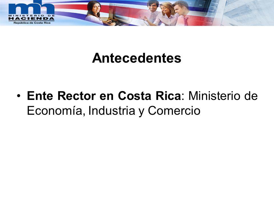 Antecedentes Ente Rector en Costa Rica: Ministerio de Economía, Industria y Comercio