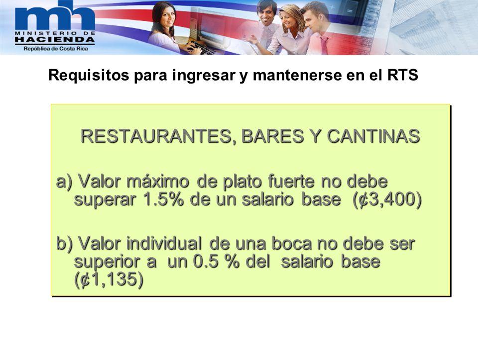 RESTAURANTES, BARES Y CANTINAS