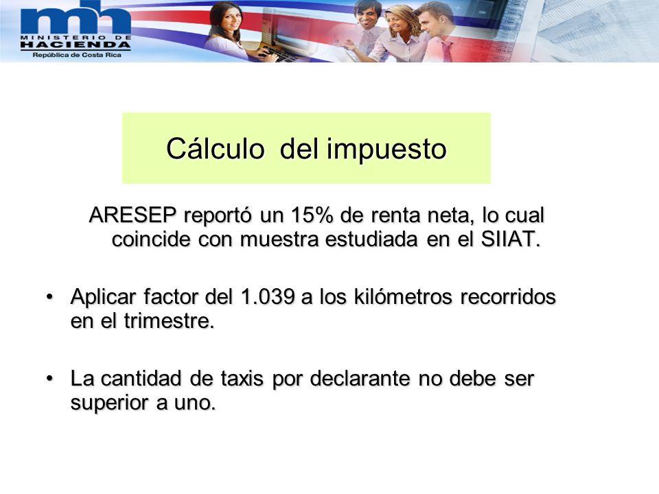 Cálculo del impuestoARESEP reportó un 15% de renta neta, lo cual coincide con muestra estudiada en el SIIAT.