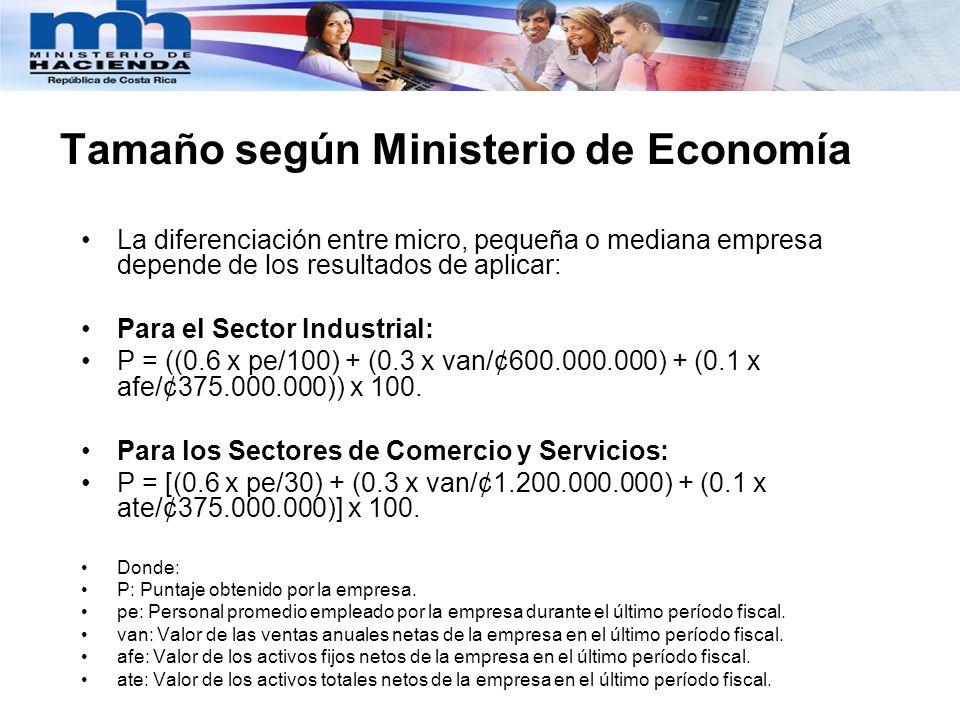 Tamaño según Ministerio de Economía