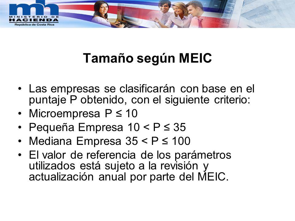 Tamaño según MEIC Las empresas se clasificarán con base en el puntaje P obtenido, con el siguiente criterio: