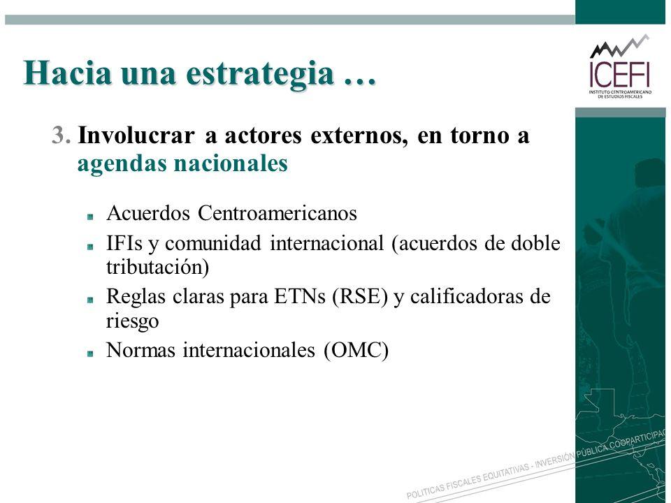 Hacia una estrategia … 3. Involucrar a actores externos, en torno a agendas nacionales. Acuerdos Centroamericanos.